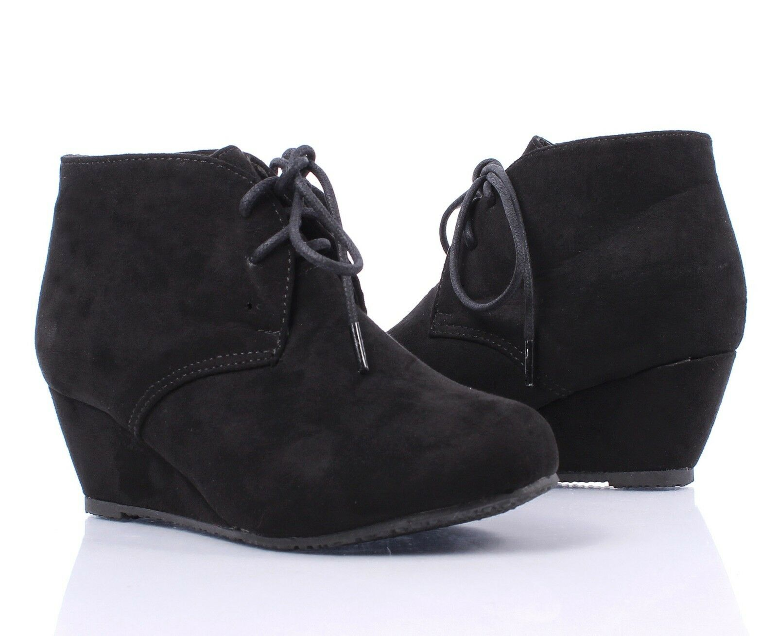 New Faux Suede Lace Up Girls Wedge High Heels Kids Ankle Boots ...