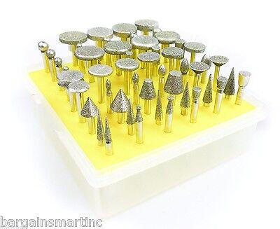 NEW 50pc 120 Grit Diamond Burr Bit Set Rotary Tool Glass Tile Ceramic Stone Rock