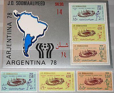 SOMALIA 1978 263-65 Block 6 456-58a Soccer World Cup Fußball WM Argentina MNH