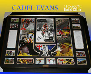 LARGE-FRAME-OF-CADEL-EVANS-TOUR-DE-FRANCE-WINNER-MEMORABILIA-LIMITED-TO-499-COA