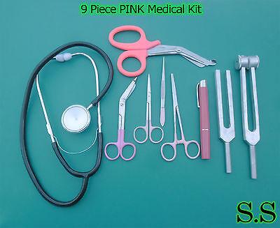 9 Piece Pink Medical Kit - Diagnostic Emt Nursing Surgical Ems Student Paramedic