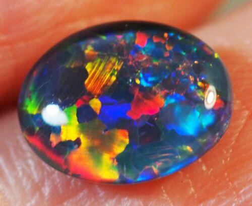 Very Bright Natural Australian Coober Pedy Opal Triplet 10x8 mm pendant ring