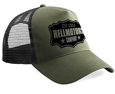 Trucker Olive (Oldschool Hellmotors Company Trucker Cap Hotrod Rockabilly Biker Kappe V8 Oliv)