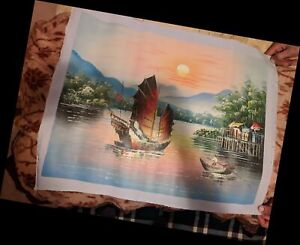 2 Oil Painting of Boats (Asian) art