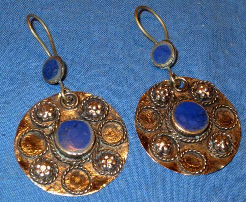 "Earrings Circle Malachite or Lapis Afghan Kuchi Tribal Alpaca Silver 1 1/2"""
