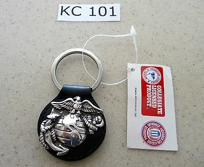 Kc101 Key Chain United States Marine Corps Semper Fi Black Leather Key Ring Fob