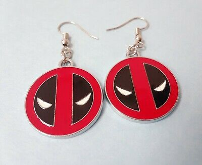 Cute deadpool logo marvel black red mask charms earrings silver plated jewelry