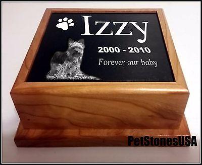 Pet Urn Memorial Stone Cremation Photo Box Wood 60lb German Shepherd dog