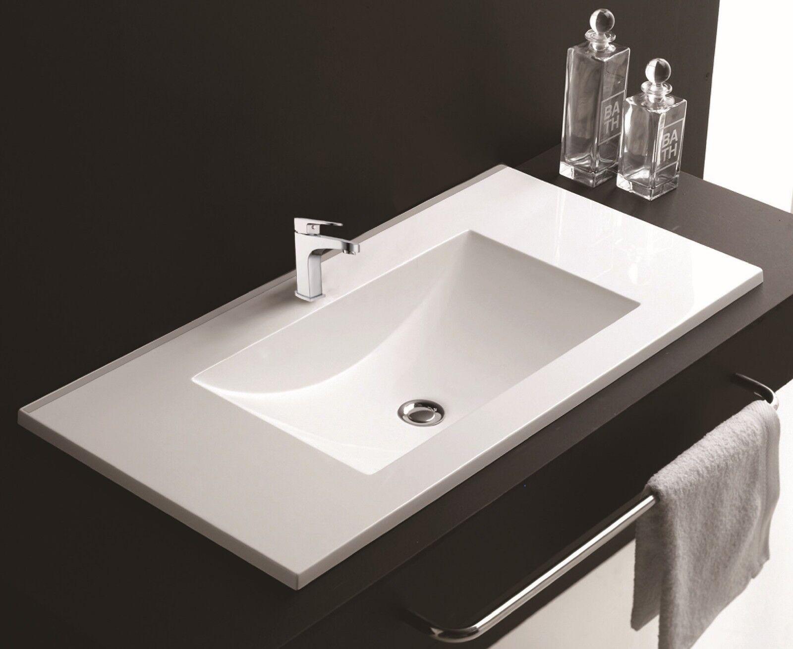 900mm Bathroom Rectangular Cabinet Mounted Basin Modern Ceramic Sink