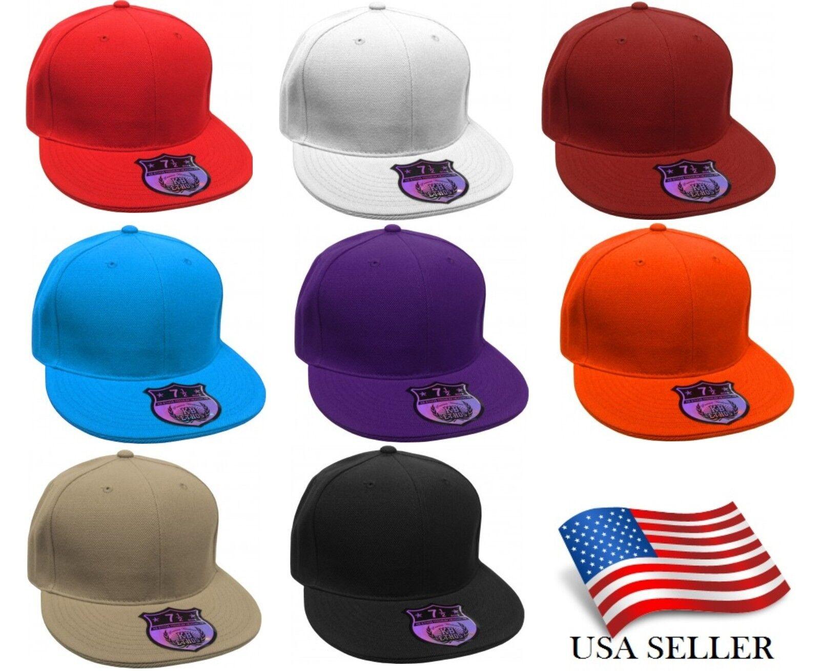 00252d57c8b Premium Solid Fitted Flat Bill Baseball Cap Hat Caps Hats Flat Brim NEW  W Tags