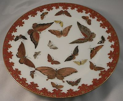 Vintage Japanese  Porcelain Plate KUTANI Butterfly Hand Painted Japan Asian
