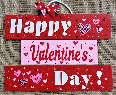 ONE-PIECE SIGN Happy Valentine's Day WALL ART DOOR HANGER PLAQUE Holiday Decor  ()