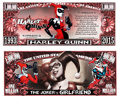 Harley Quinn Million Dollar Bill Fake Play Funny Money Novelty Note +FREE SLEEVE