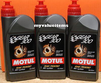 3 Motul GEAR 300 75W90 - 1L Ea - 100118/105777 100% Synthetic Ester Based NEW