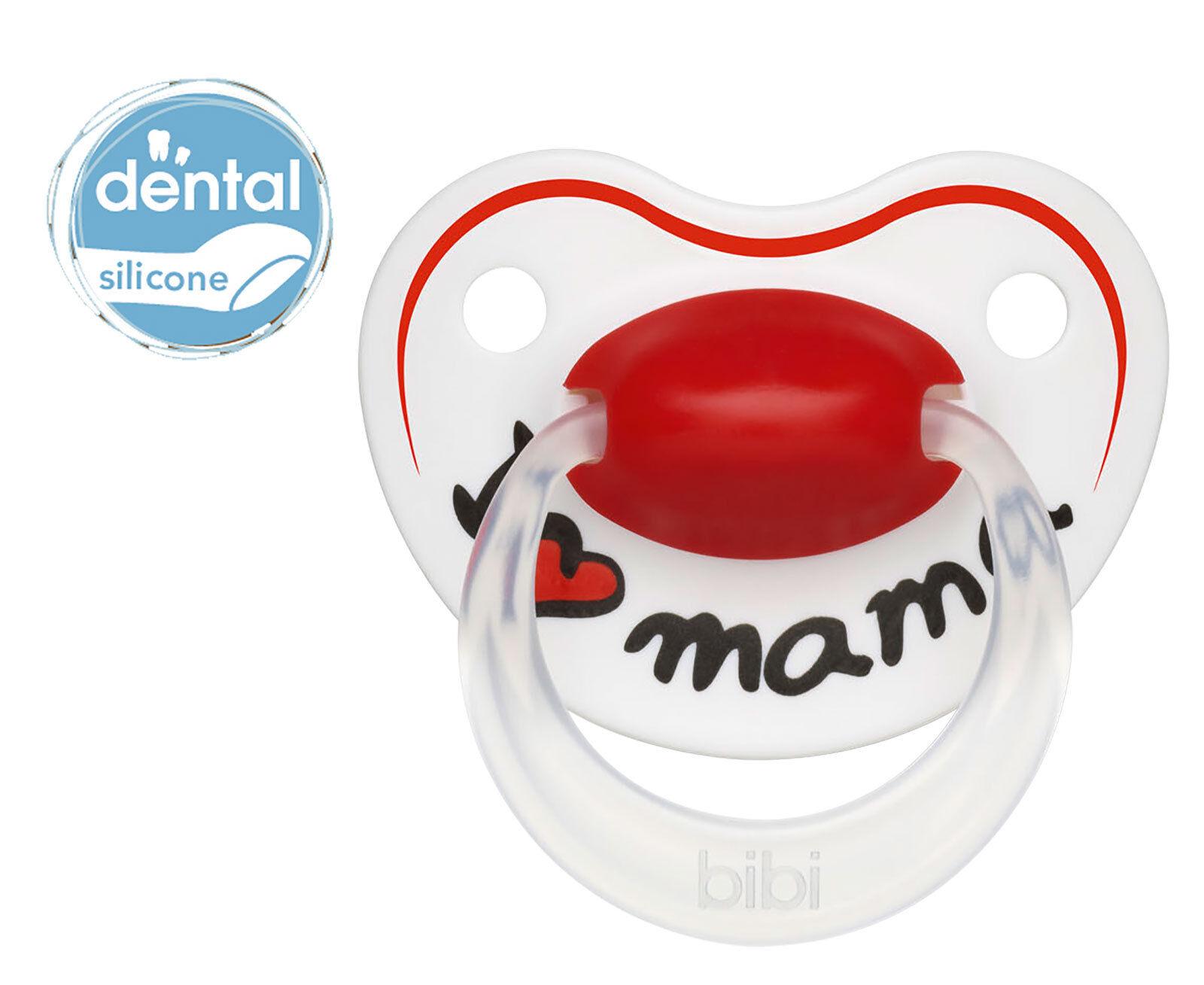 bibi Schnuller Dentalsauger aus Silikon I LOVE MAMA in 3 Größen Kieferform