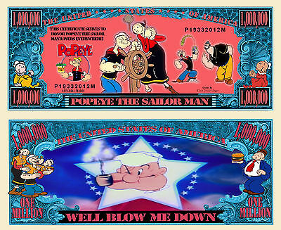 Popeye the Sailor Man Million Dollar Bill Funny Money Novelty Note + FREE - The Novelties