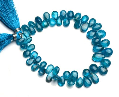 """Natural Gem Neon Blue Apatite 8x5 to 11x7mm Smooth Pear Shape Beads 8"""" Strand"""