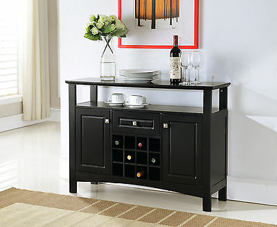 بوفيه جديد Kings Brand Black Finish Wood Wine Rack Buffet Cabinet Storage Console Table