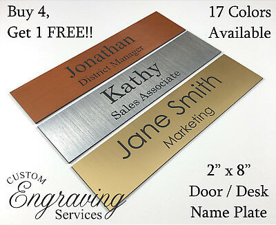 Name Plate For Office Desk Or Door 2x8 Sign Plaque Personalization Engraved