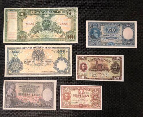 Lithuania set 6 rare banknotes reproduction copy