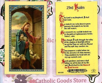 The Good Shepard On Front  23Rd Psalm On Back   Laminated  Holy Card
