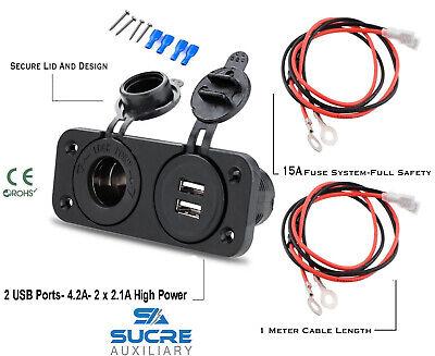 12V/24V USB Twin Dual Socket + Cigarette Socket + Double Twin Plate...