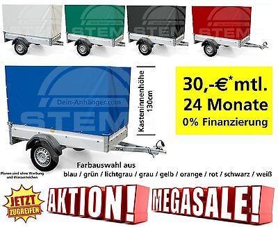 30€mtl. 24 Monate 0% Finanzierung STEMA Anhänger FT7.5 750 Kg mit Plane 13Zoll