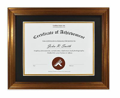 Golden State Art 11x14 Frame for 8.5x11 Diploma/Certificate,