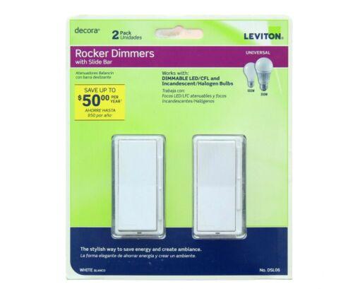 Leviton Rocker Slide Dimmer Switch DSL06 300W LED/CFL 3-Way, White