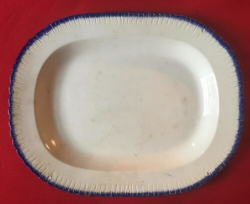 Antique Early 19th c. Blue Feather Edge Pearlware Platter Leeds Staffordshire