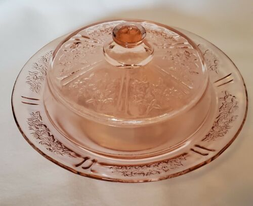 Federal Glass Sharon Pink Cabbage Rose Butter Cheese Dish w/Lid Depression Glass