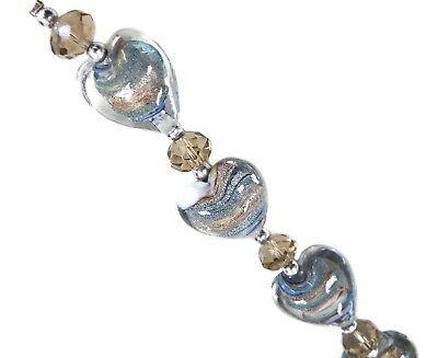 - 6 pcs Earthy Swirly Heart Silver Foil mix Lampwork Glass Bead 20mm DIY Jewelry