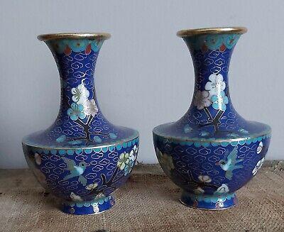Vintage  Cloisonne Medium Blue Bud Vase with Flower