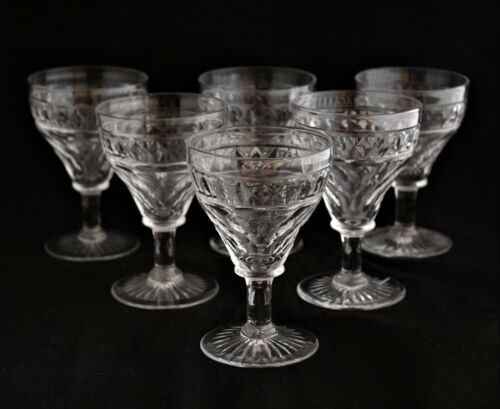 Antique Set 6 English Georgian Style Cut Crystal Wine Glasses