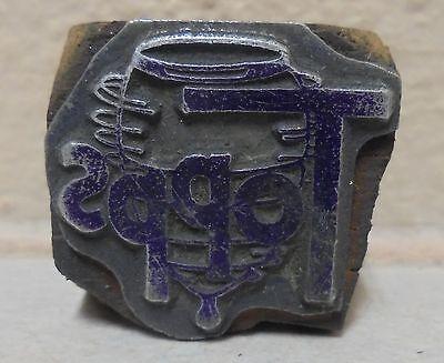 Vintage Spin Topps Metal Wood Letterpress Printing Block Type Nice