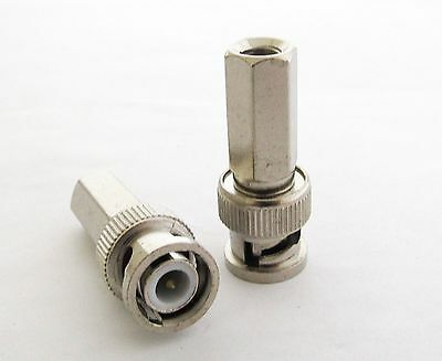 30 x Twist-on BNC Male Plug RG59 RF Connector Nickel Plated for CCTV Cameras