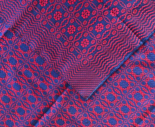 Antique Beiderwand woven coverlet bedcover Navy Blue & Red  53 x 69 middle seam