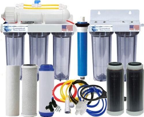RO/DI 100GPD Reverse Osmosis Dual DI 6 Stage System Aquarium Manual Flush Valve