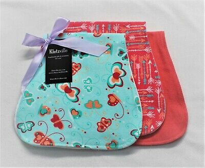 Aqua & Coral Butterflies Arrows Cotton Flannel Burp Cloth Set of 3 -Personalized - Butterflies Clothing