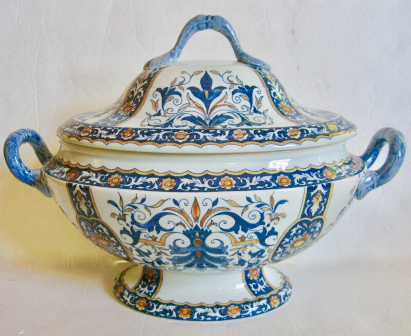 Gien French Faience Hand-Painted Soup Tureen