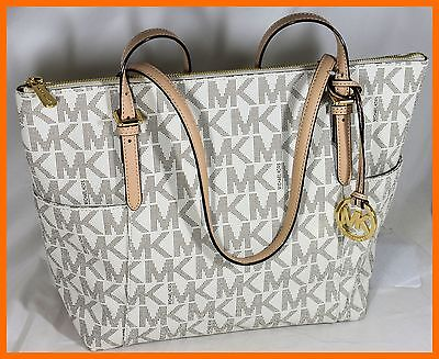 MICHAEL KORS PVC VANILLA MK SIGNATURE EAST WEST TZ  TOTE PURSE HANDBAG