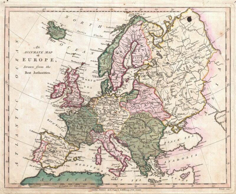 1794 Wilkinson Map of Europe