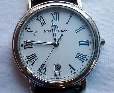 Maurice Lacroix Les Classiques LC1017-Leather Strap-Date-Quartz-38MM Dress Watch