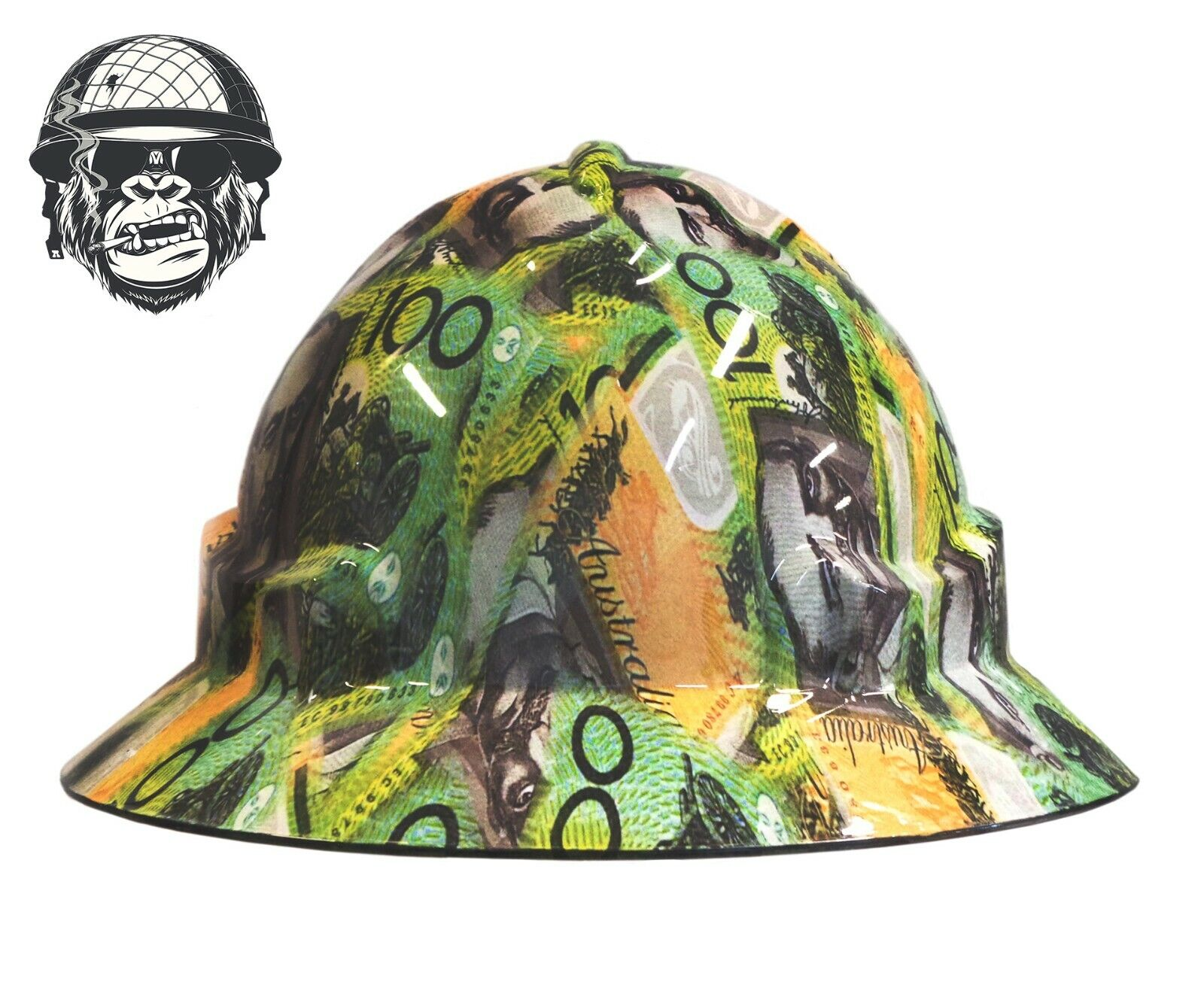 Custom Hydrographic Wide Brim Safety Hard Hat HUNDEES WIDE $100 Notes