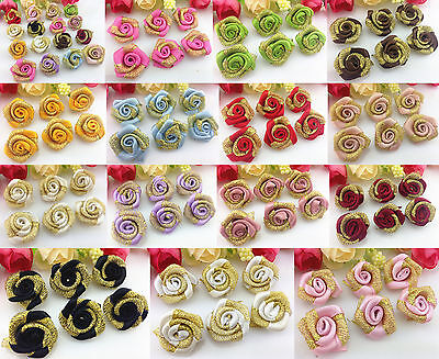 DIY 10-100 PCS gold Glitter Satin Ribbon Rose Flower Wedding (Gold Satin Flowers)