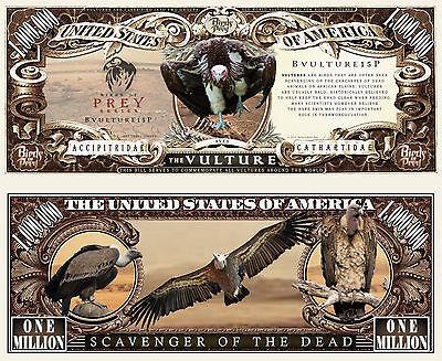 Vulture Bird of Prey Million Dollar Bill Funny Money Novelty Note + FREE SLEEVE