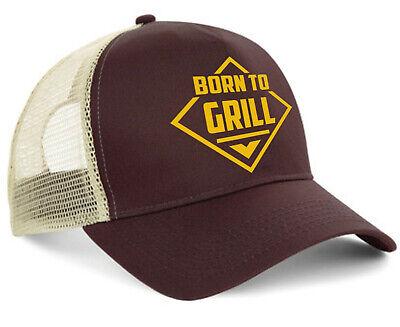 Born to Grill Trucker Cap BBQ Party Steak Hotrod V8 Oldschool Biker Kappe Braun