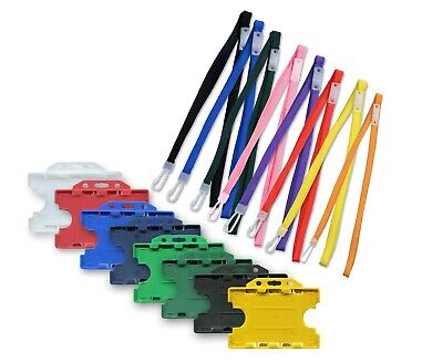 Double Sided Plastic Rigid Id Card Holder Id Neck Lanyard Free Pp
