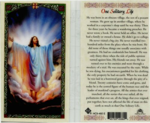 One Solitary Life Laminated Prayer Holy Card He was Born in an Obscure Village