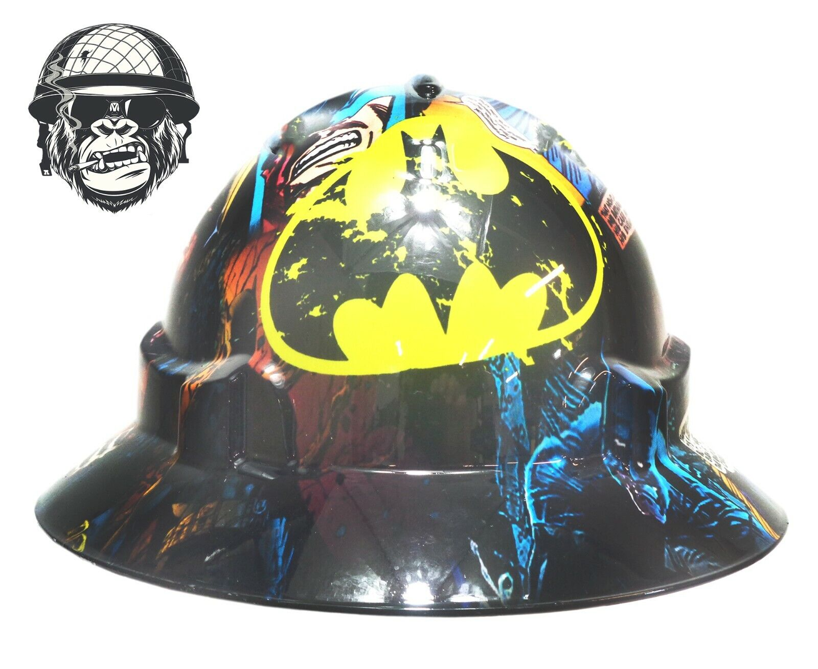Custom Hydrographic Wide Brim Safety Hard Hat BATMAN COMIC WIDE